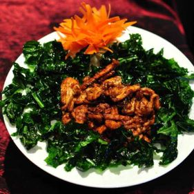 Dark Pearl Chicken with Crispy Leaves
